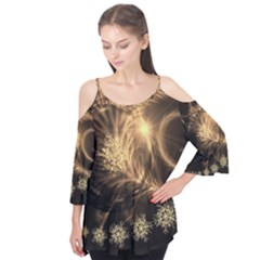 Golden feather and ball decoration Flutter Tees