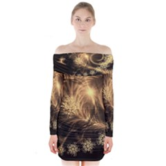 Golden Feather And Ball Decoration Long Sleeve Off Shoulder Dress