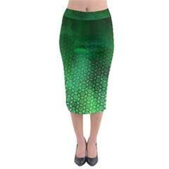 Ombre Green Abstract Forest Midi Pencil Skirt