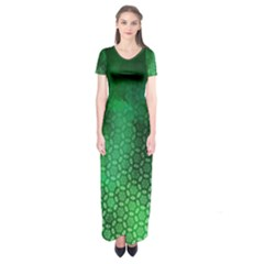 Ombre Green Abstract Forest Short Sleeve Maxi Dress
