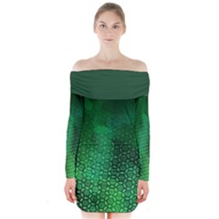 Ombre Green Abstract Forest Long Sleeve Off Shoulder Dress