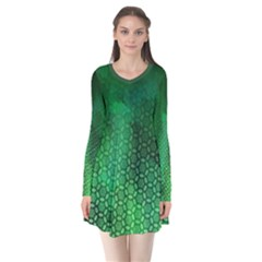 Ombre Green Abstract Forest Long Sleeve V-neck Flare Dress