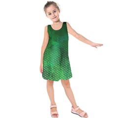 Ombre Green Abstract Forest Kids  Sleeveless Dress
