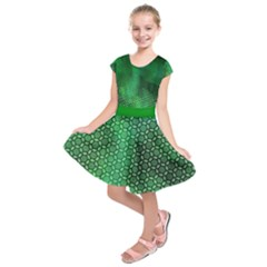 Ombre Green Abstract Forest Kids  Short Sleeve Dress