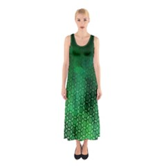 Ombre Green Abstract Forest Sleeveless Maxi Dress