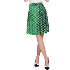 Green Abstract Forest A Line Skirt