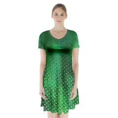 Ombre Green Abstract Forest Short Sleeve V-neck Flare Dress
