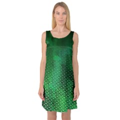 Ombre Green Abstract Forest Sleeveless Satin Nightdress
