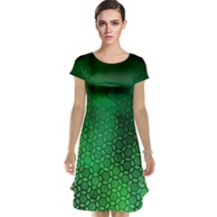 Ombre Green Abstract Forest Cap Sleeve Nightdress