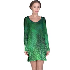 Ombre Green Abstract Forest Long Sleeve Nightdress
