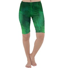 Ombre Green Abstract Forest Cropped Leggings