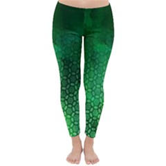 Ombre Green Abstract Forest Winter Leggings