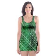 Green Abstract Forest Skater Dress Swimsuit