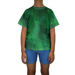 Ombre Green Abstract Forest Kids  Short Sleeve Swimwear