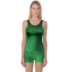 Ombre Green Abstract Forest One Piece Boyleg Swimsuit