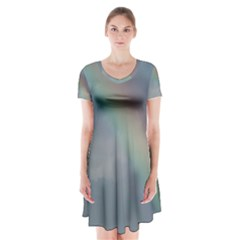 Rainbow in the sky Short Sleeve V-neck Flare Dress