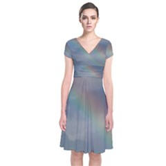 Rainbow In The Sky Short Sleeve Front Wrap Dress