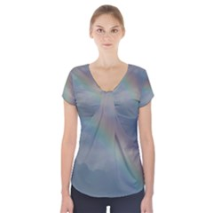 Rainbow in the sky Short Sleeve Front Detail Top