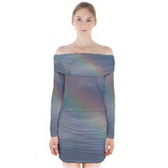 Rainbow In The Sky Long Sleeve Off Shoulder Dress