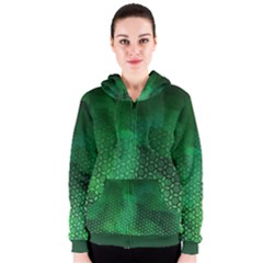 Ombre Green Abstract Forest Women s Zipper Hoodie
