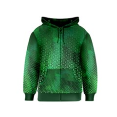Ombre Green Abstract Forest Kids  Zipper Hoodie