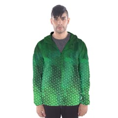 Ombre Green Abstract Forest Hooded Wind Breaker (men)