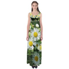 White Summer Flowers, Watercolor Painting Empire Waist Maxi Dress