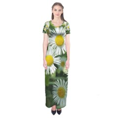 White Summer Flowers, Watercolor Painting Short Sleeve Maxi Dress