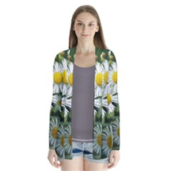 White Summer Flowers, Watercolor Painting Drape Collar Cardigan