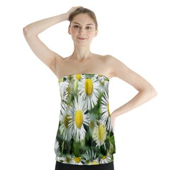 White Summer Flowers, Watercolor Painting Strapless Top