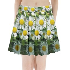 White summer flowers, watercolor painting Pleated Mini Skirt
