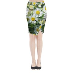 White Summer Flowers, Watercolor Painting Midi Wrap Pencil Skirt