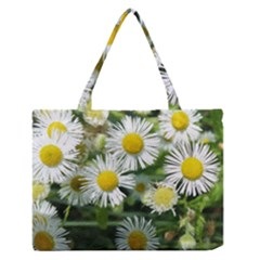 White Summer Flowers, Watercolor Painting Medium Zipper Tote Bag