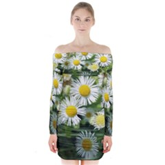 White Summer Flowers, Watercolor Painting Long Sleeve Off Shoulder Dress
