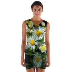 White summer flowers oil painting art Wrap Front Bodycon Dress