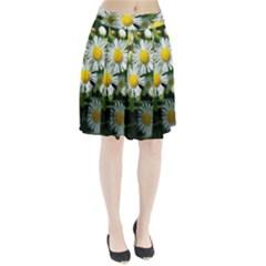 White summer flowers oil painting art Pleated Skirt