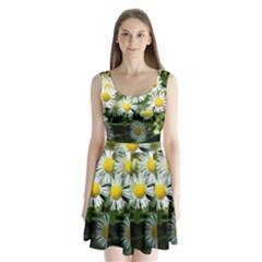 White summer flowers oil painting art Split Back Mini Dress