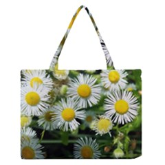 White summer flowers oil painting art Medium Zipper Tote Bag