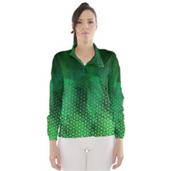Ombre Green Abstract Forest Wind Breaker (women)