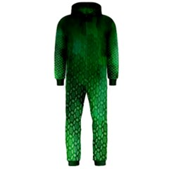 Ombre Green Abstract Forest Hooded Jumpsuit (men)