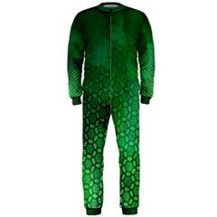 Ombre Green Abstract Forest Onepiece Jumpsuit (men)