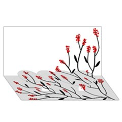 Elegant tree Twin Heart Bottom 3D Greeting Card (8x4)
