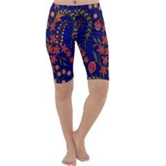 Texture Batik Fabric Cropped Leggings