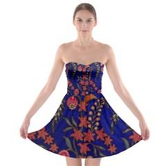 Texture Batik Fabric Strapless Bra Top Dress
