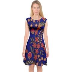 Texture Batik Fabric Capsleeve Midi Dress