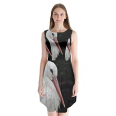 Stork Bird Sleeveless Chiffon Dress