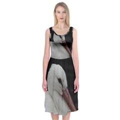 Wild Stork Bird Midi Sleeveless Dress