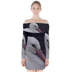 Wild Stork bird Long Sleeve Off Shoulder Dress