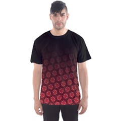 Ombre Black And Red Pasion Floral Pattern Men s Sport Mesh Tee