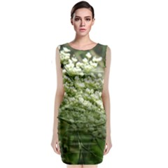 White Summer Flowers Classic Sleeveless Midi Dress